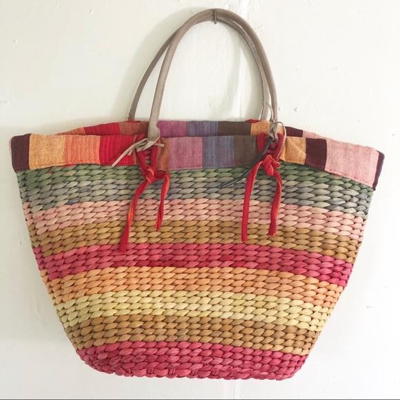 2396b78a09f straw bag Bags | Rainbow Striped Straw Beach Bag Purse | Poshmark